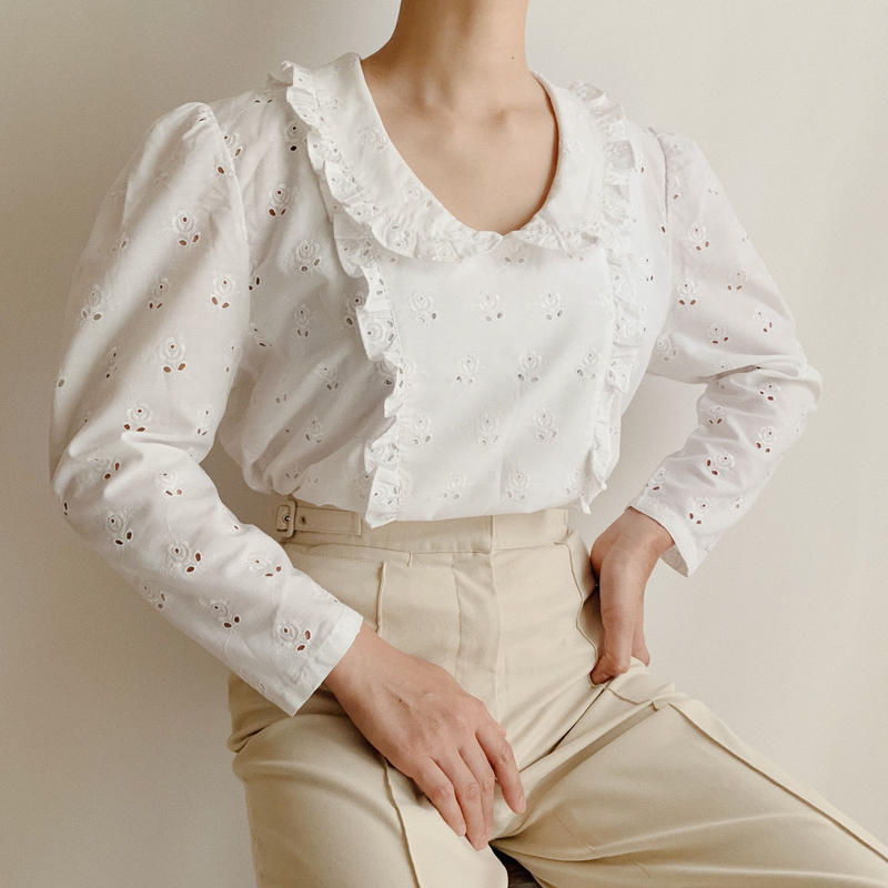 Euro Vintage Flower Cut Work Lace Blouse