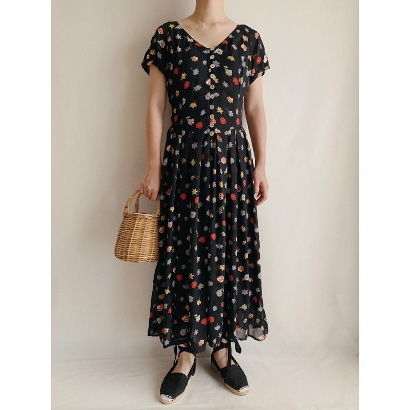 Euro Vintage Flower Print Sheer Long Dress