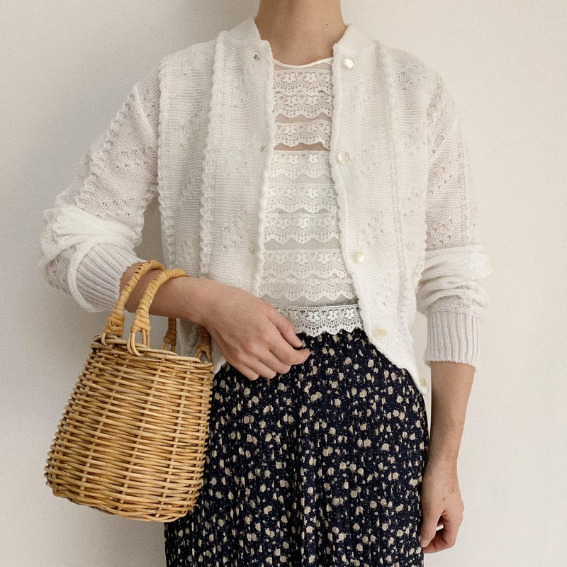 70's - 80's Euro Vintage White Spring Short Knit Cardigan