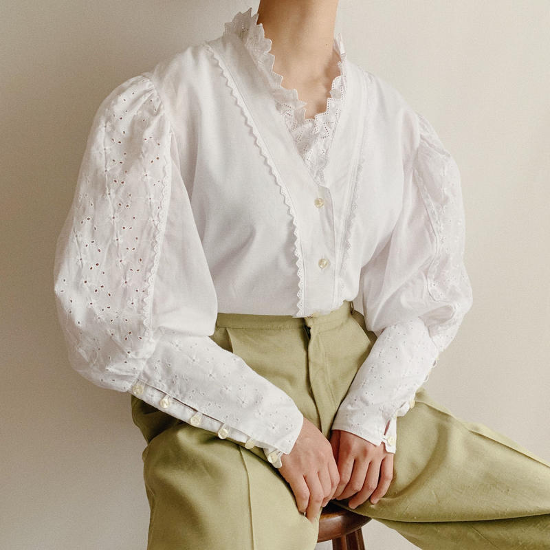 Euro Vintage Volume Sleeve Blouse