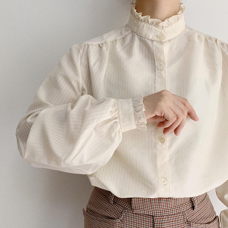 80's Euro Vintage Stand Collar Volume Sleeve Blouse