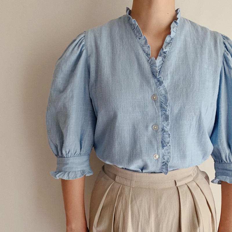 Euro Vintage Saxe Blue Cotton Linen Blouse