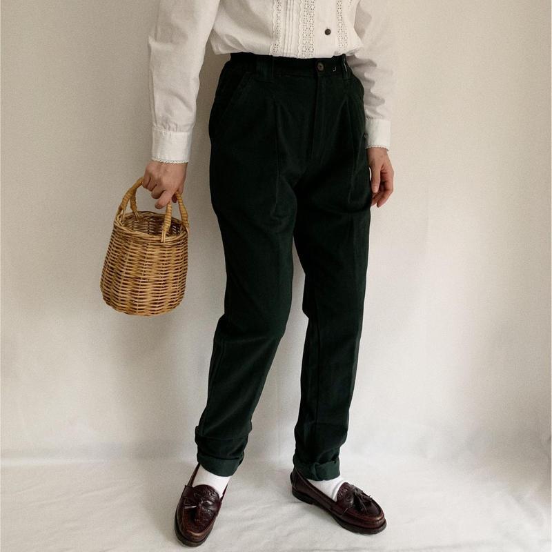 90s Euro Vintage Dark Green Cotton Tuck Pants