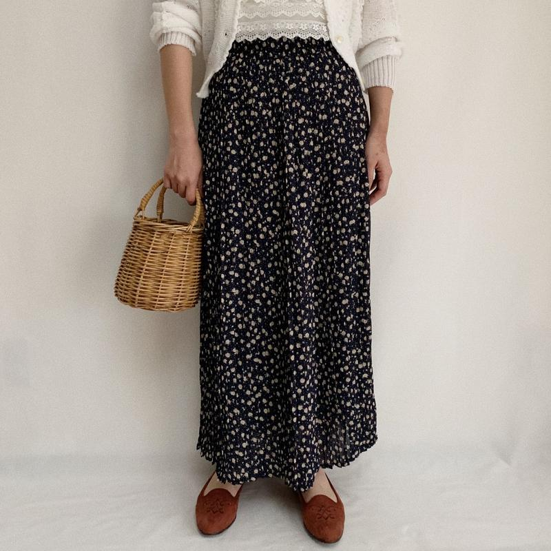 Euro Vintage Flower Pattern Accordion Pleats Long Skirt