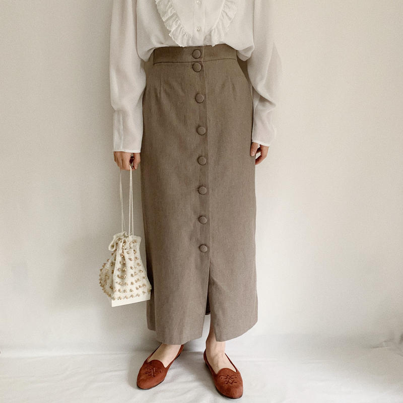 Euro Vintage Covered Buttons Long Skirt
