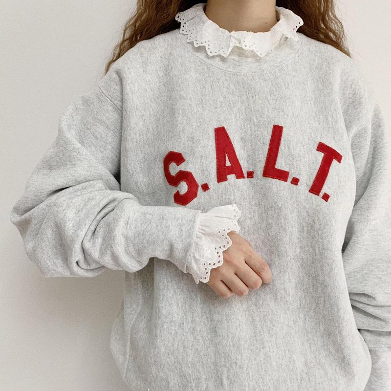 """90's USA """" S.A.L.T."""" Patchwork Logo Sweat Shirt"""