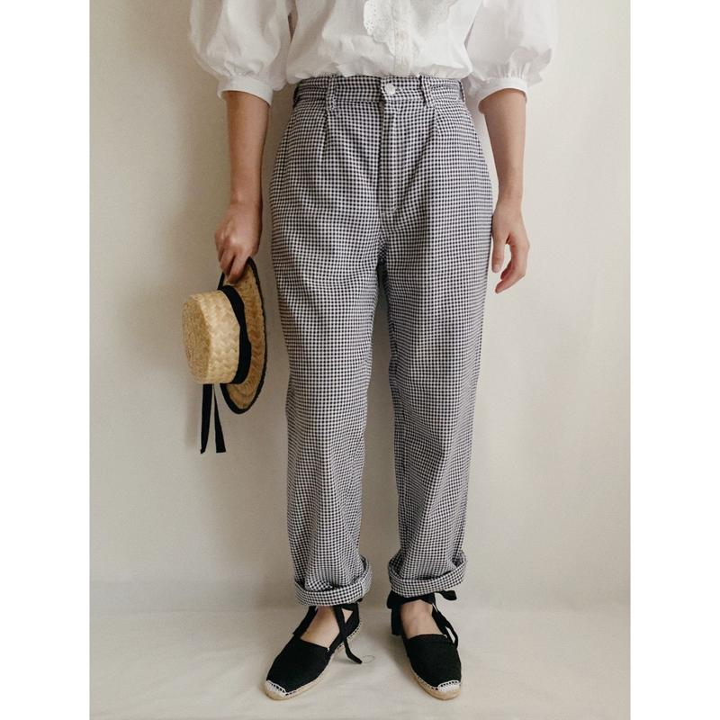 Euro Vintage Houndstooth Cotton Tuck Pants