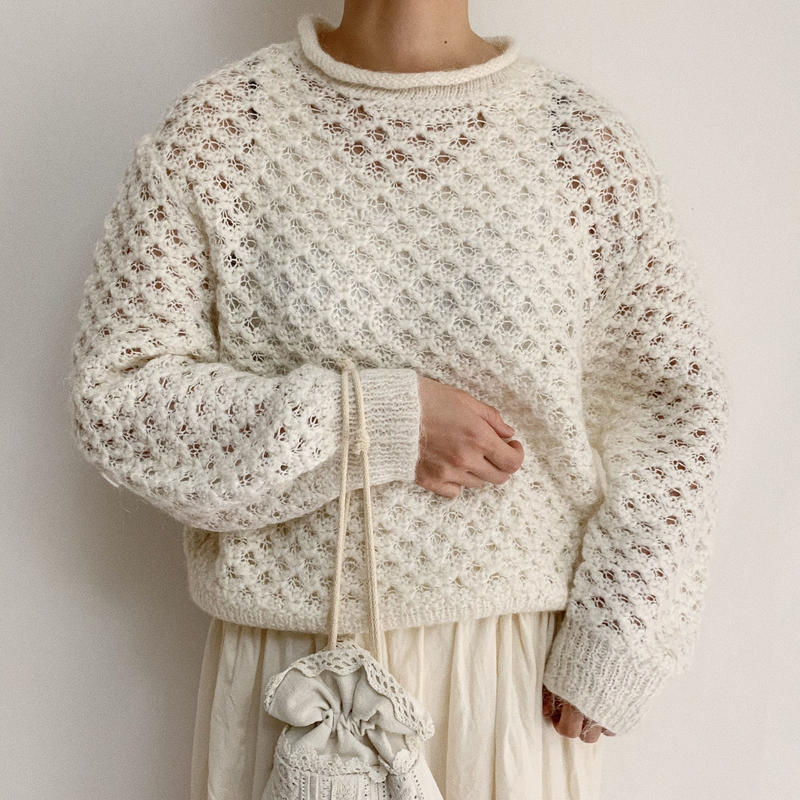 Euro Vintage White Open Worked Spring Knit Sweater