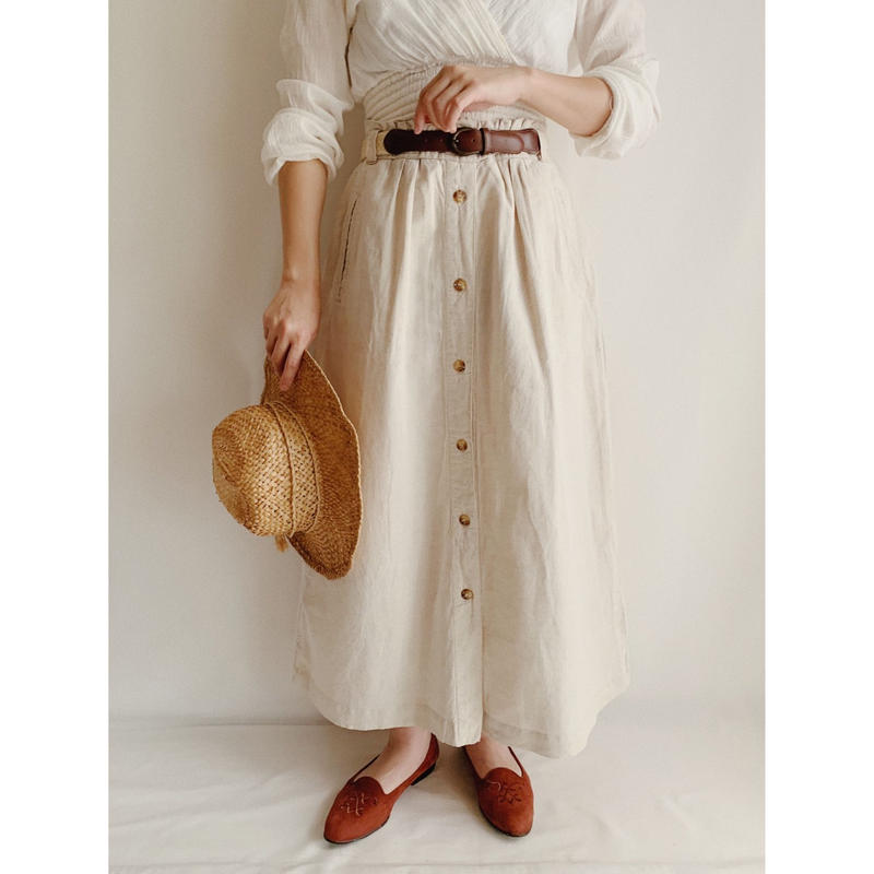 Light Beige Cotton Linen Front Buttons Flare Skirt