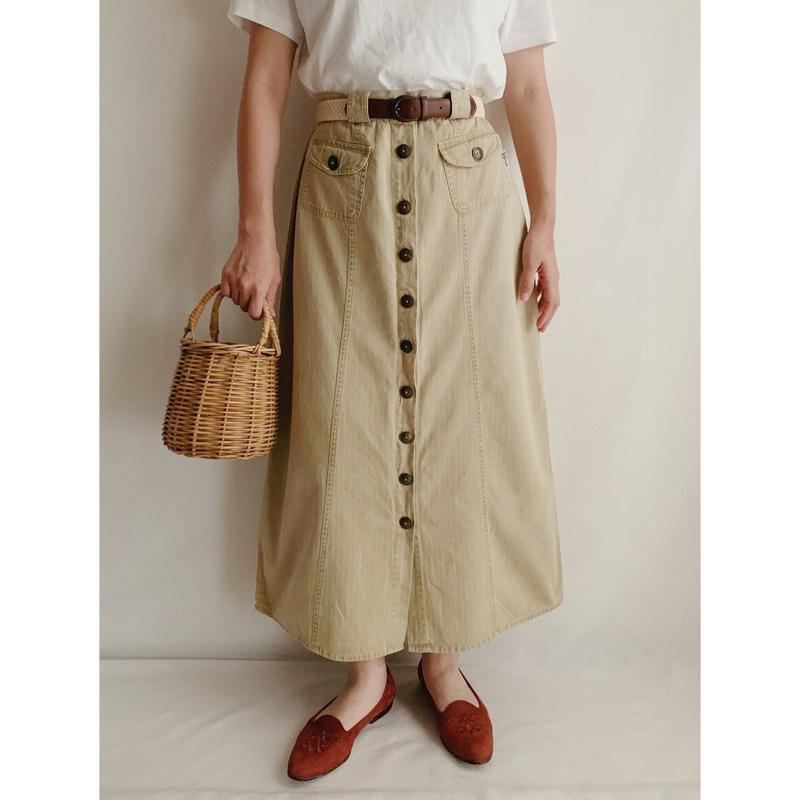 Euro  Vintage Cotton Front Buttons Long Skirt