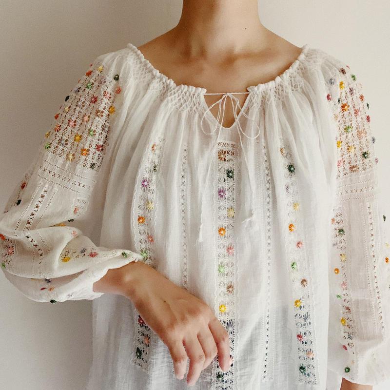 60's - 70's Euro Vintage Cotton Gauze Blouse
