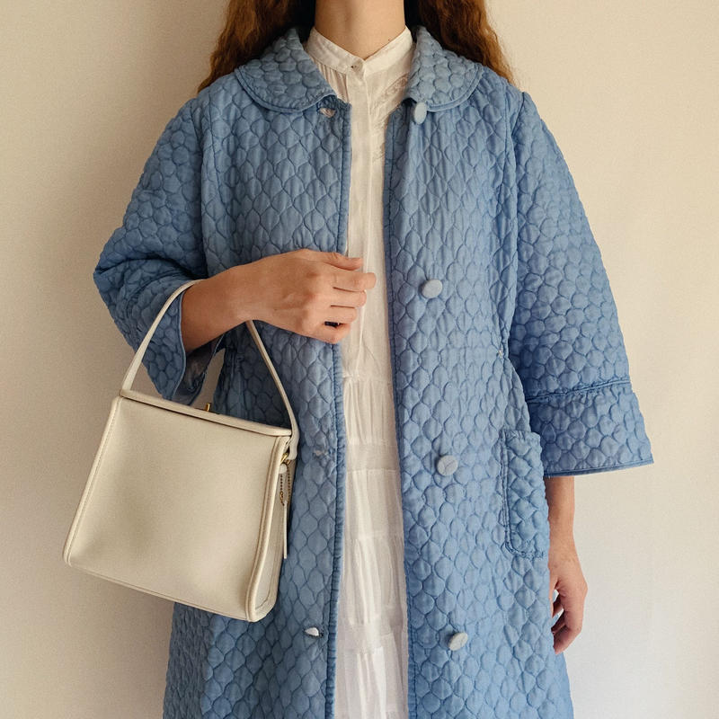 60's - 70's Euro Vintage Blue Quilting House Coat