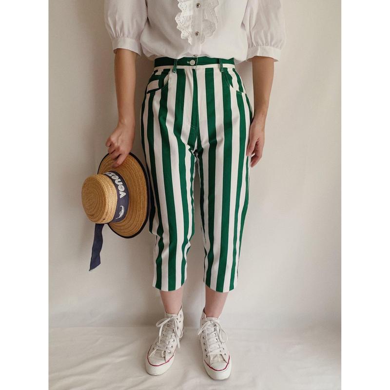 Euro Vintage Striped Cropped Pants