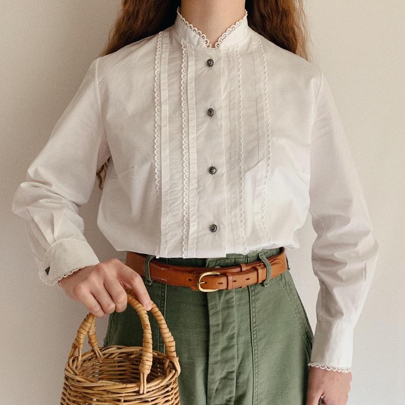 Euro Vintage Cotton Stand Collar Blouse