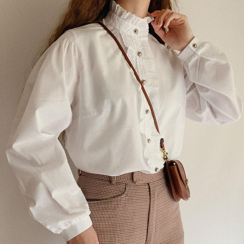 Euro Vintage Cut Work Lace Stand Collar Blouse
