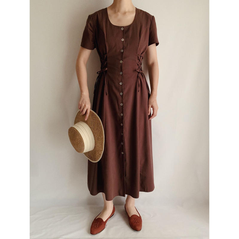 Euro Vintage Lace Up Design Long Dress