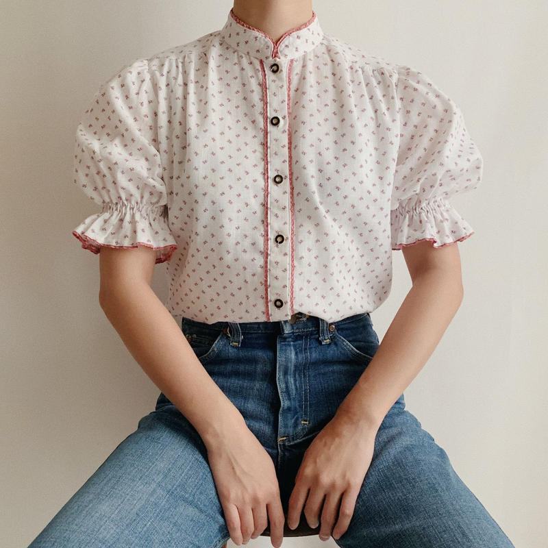 Euro  Vintage Flower Print Stand Collar Blouse