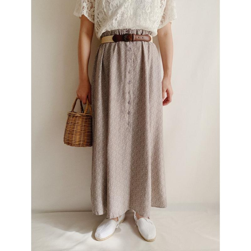 Euro Vintage Flower Print Front Buttons Flare Long Skirt