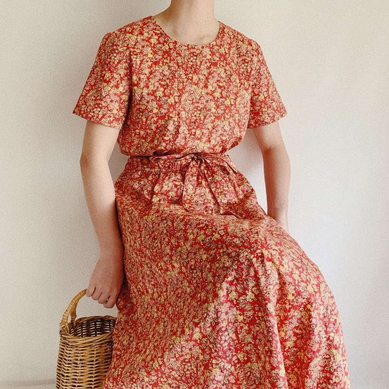""" ORVIS "" Floral Print Waist Ribbon Cotton Long Dress"