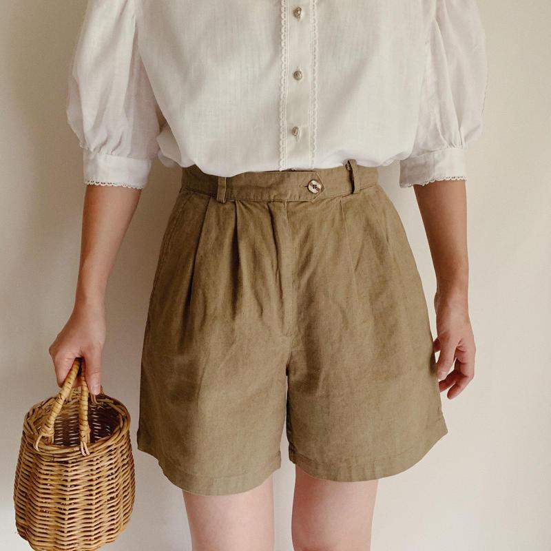 Euro Vintage Cotton Linen Tuck Short Pants
