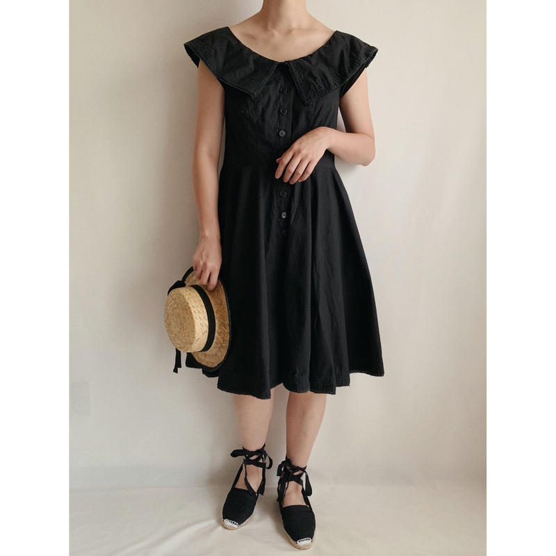India Cotton Puritan Collar Flare Dress