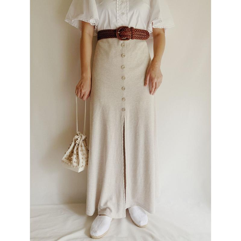 Euro Vintage Front Buttons Flare Maxi Skirt