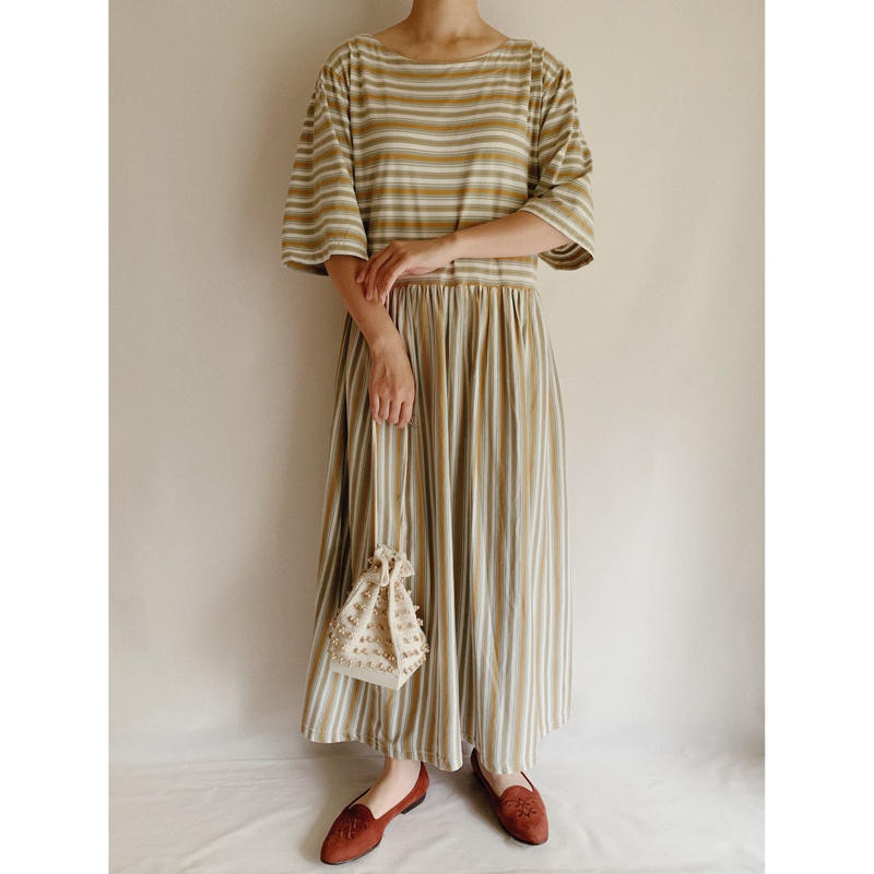 Euro  Vintage Striped Long Tee Dress