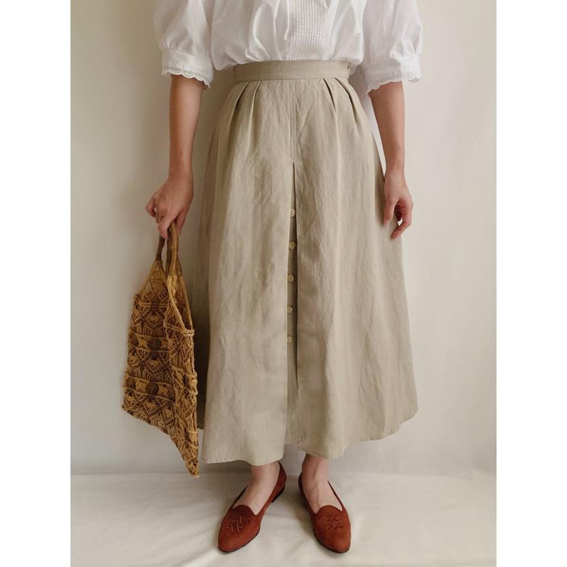 Euro  Vintage Front Buttons Flare Long Skirt
