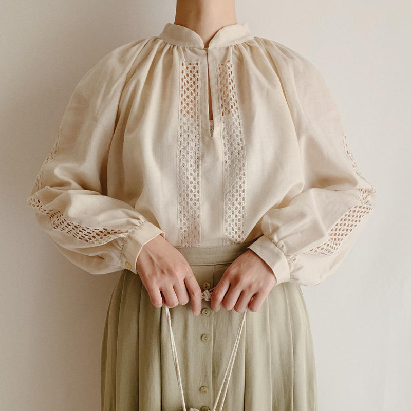 Euro Vintage Light Beige Gather Blouse