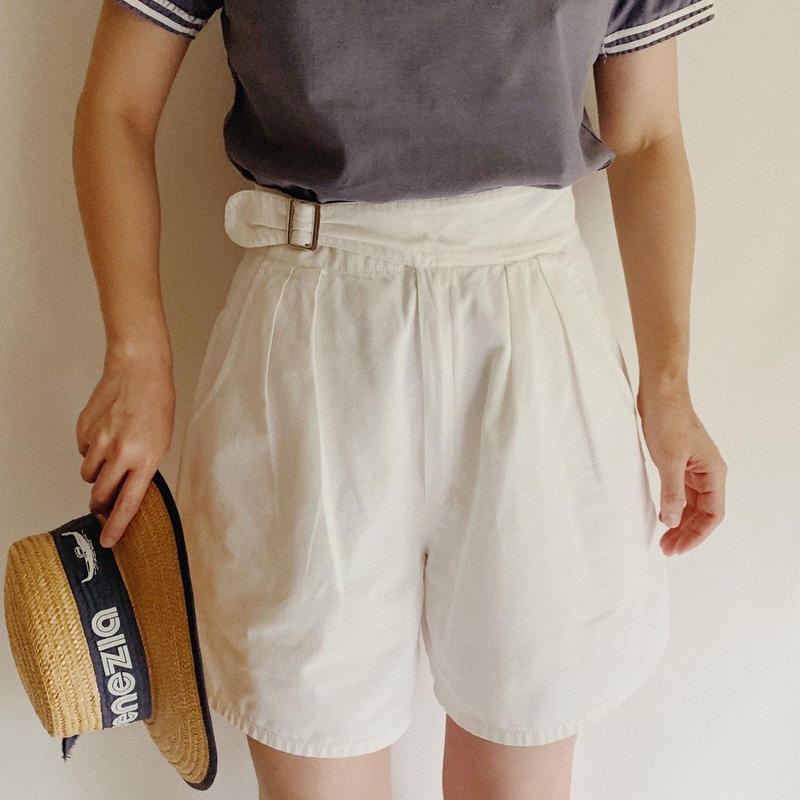 Euro Vintage Waist Belt Cotton Short Pants