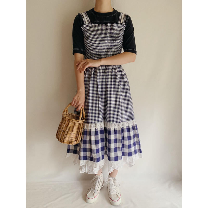 Euro Vintage Gingham Check Shirring Dress