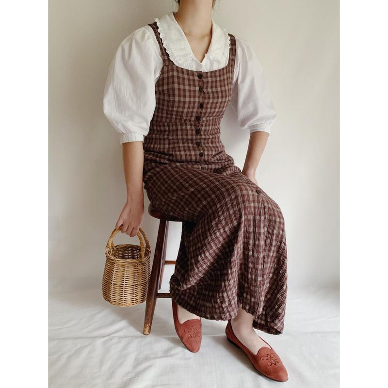 Euro Vintage Brown Plaid Long Summer Dress