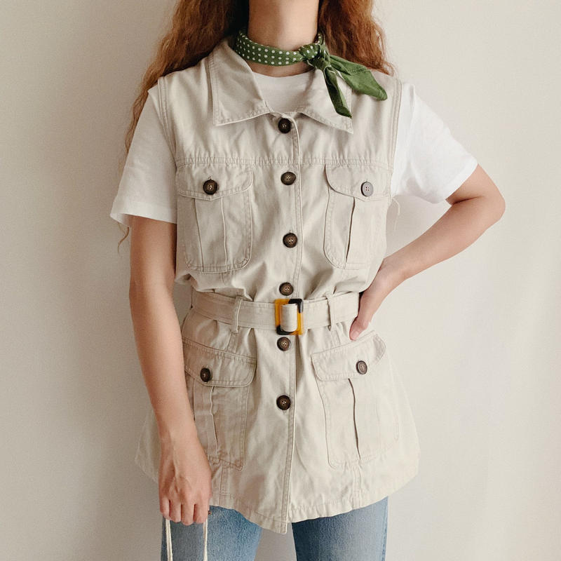 Euro  Vintage Sleeveless Safari Shirt With Belt