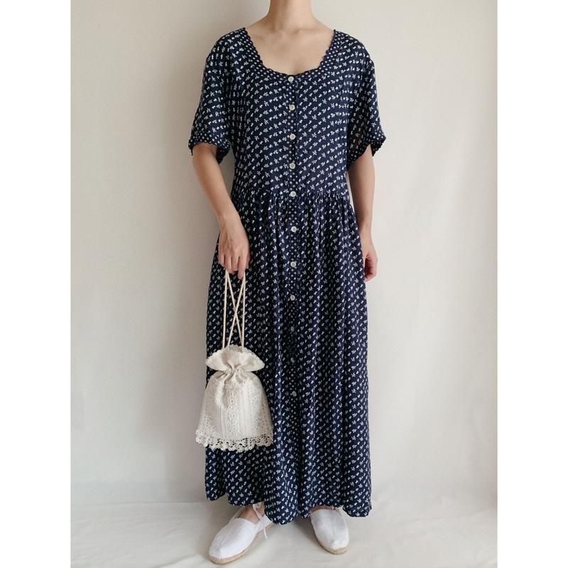 Euro Vintage Pony Print Rayon Long Dress
