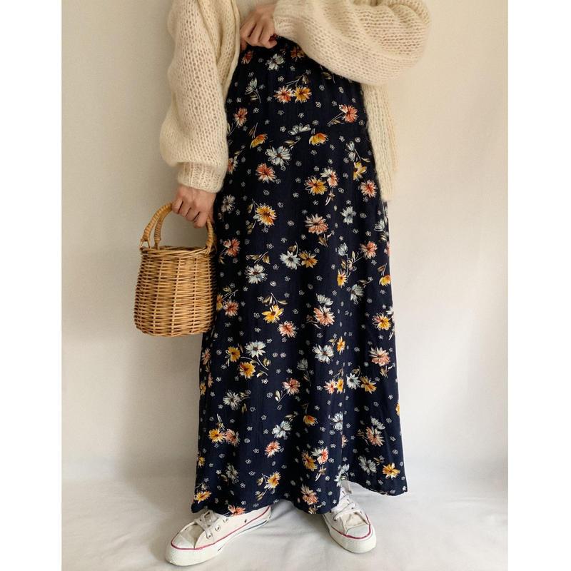 Euro Vintage Flower Print Long Skirt