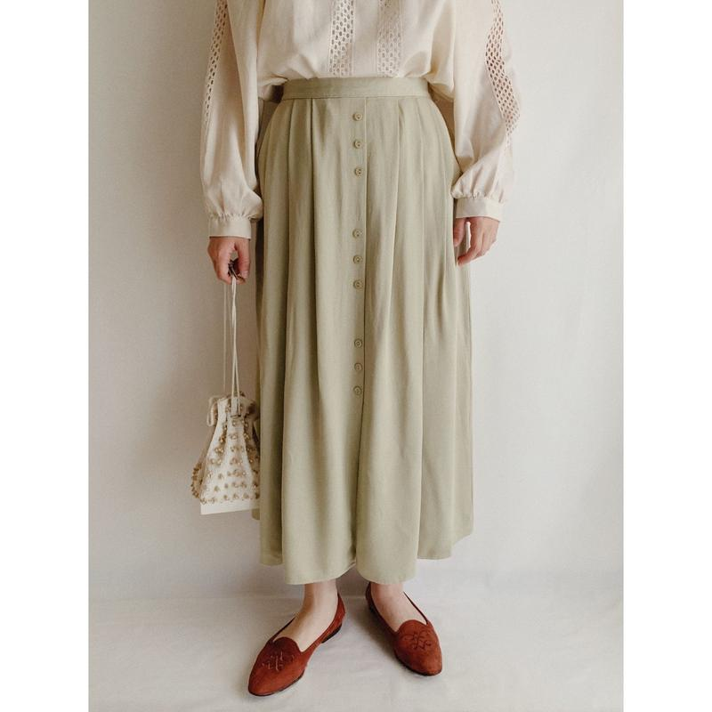 U.K.  Vintage Front Button Tuck Long Skirt