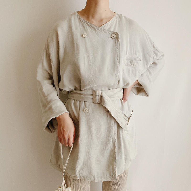 Euro Vintage Double Button Jacket With Belt