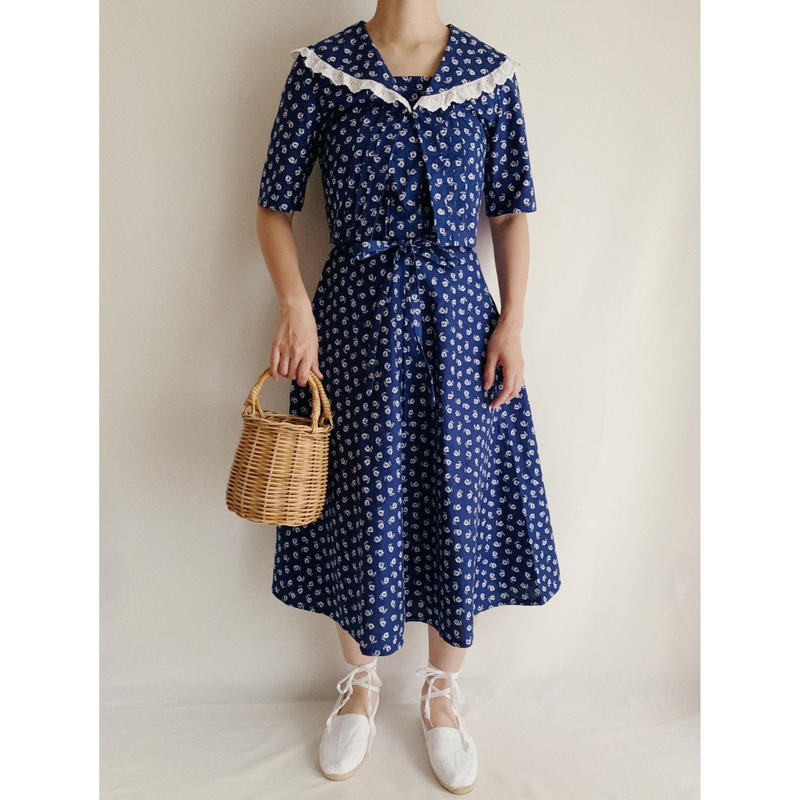 Euro Vintage Flower Print 2 Piece Dress