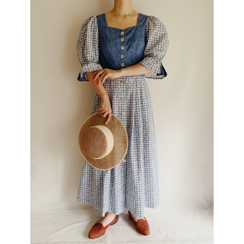 Euro Vintage Plaid × Flower Print Folk Long Dress