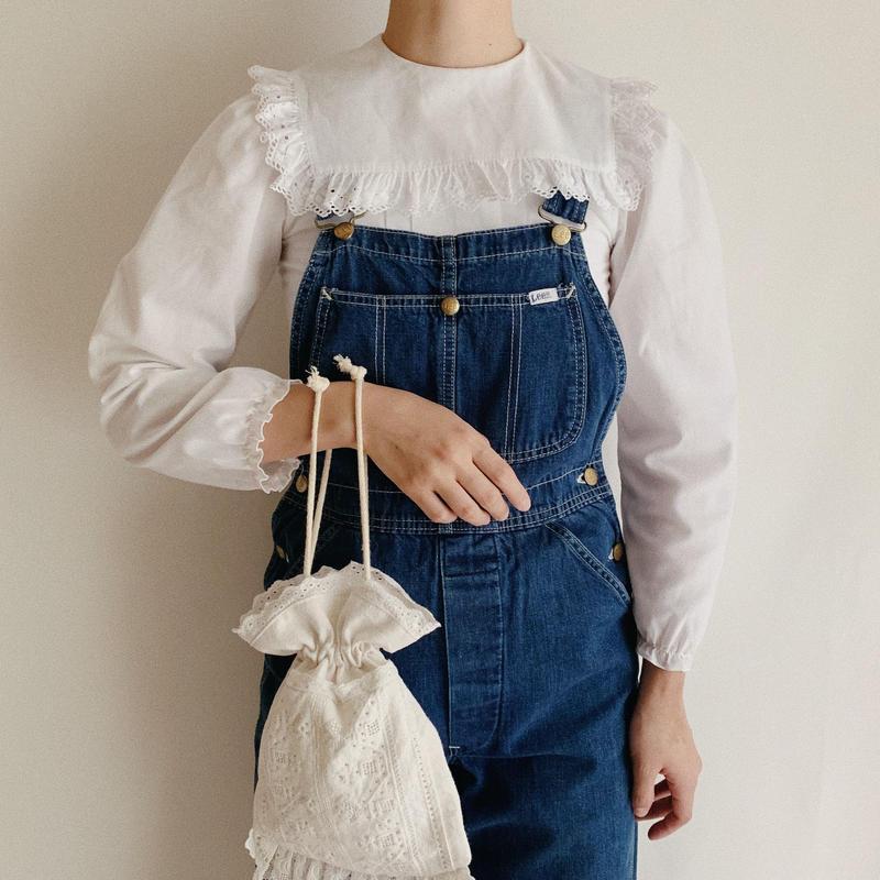 Euro Vintage Sailor Collar Cut Work Lace Blouse