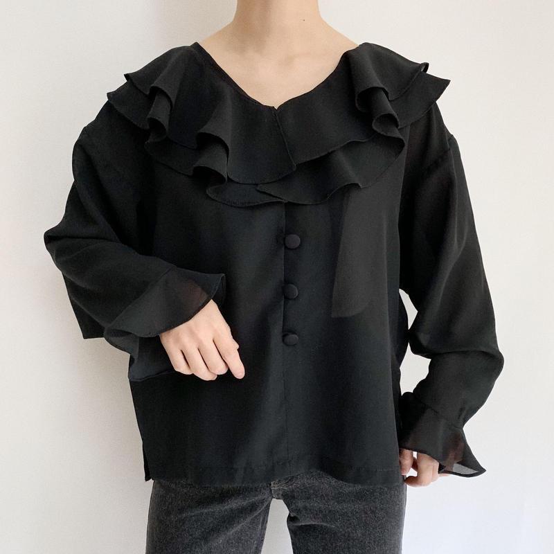 Euro Vintage Black Sheer Ruffle Blouse