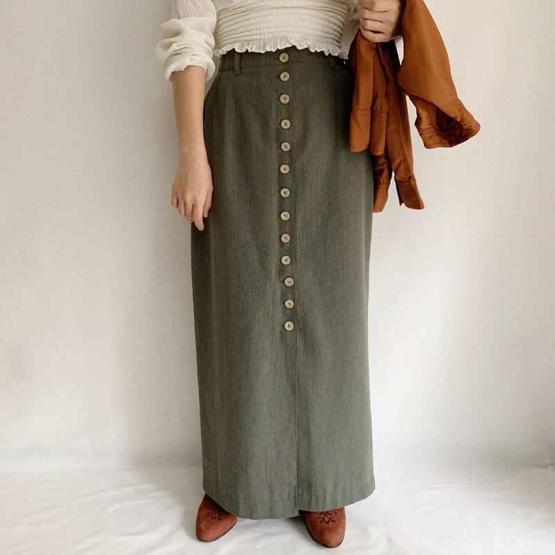 Euro Vintage Olive Green Front Buttons Slit Skirt