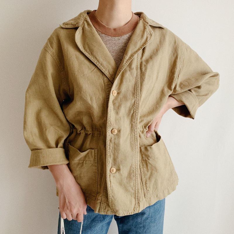 Euro Vintage Cotton Linen Draw Cord Jacket