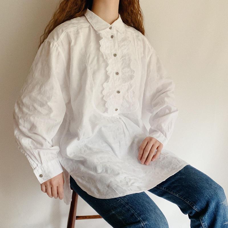 Euro Vintage Foral Woven Long Shirt