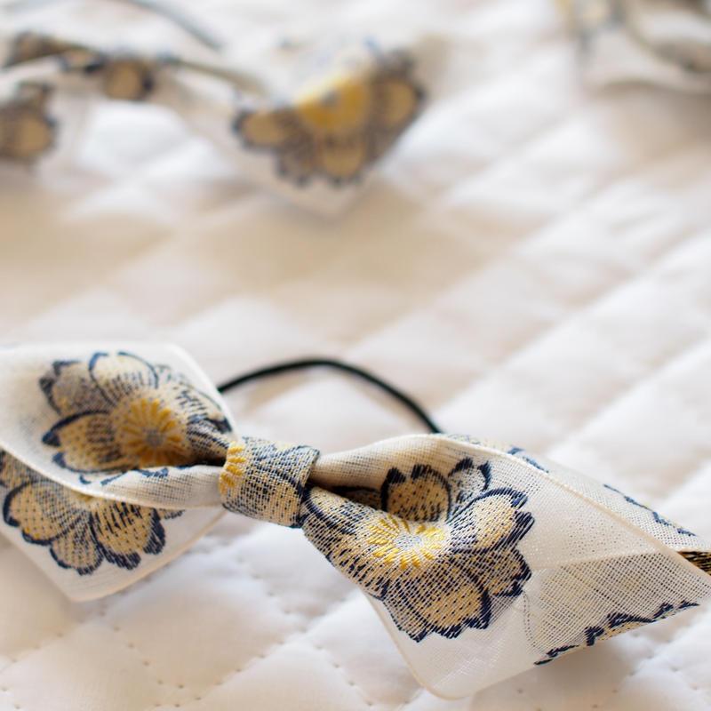 M 花刺繍のフレンチリボンヘアゴム