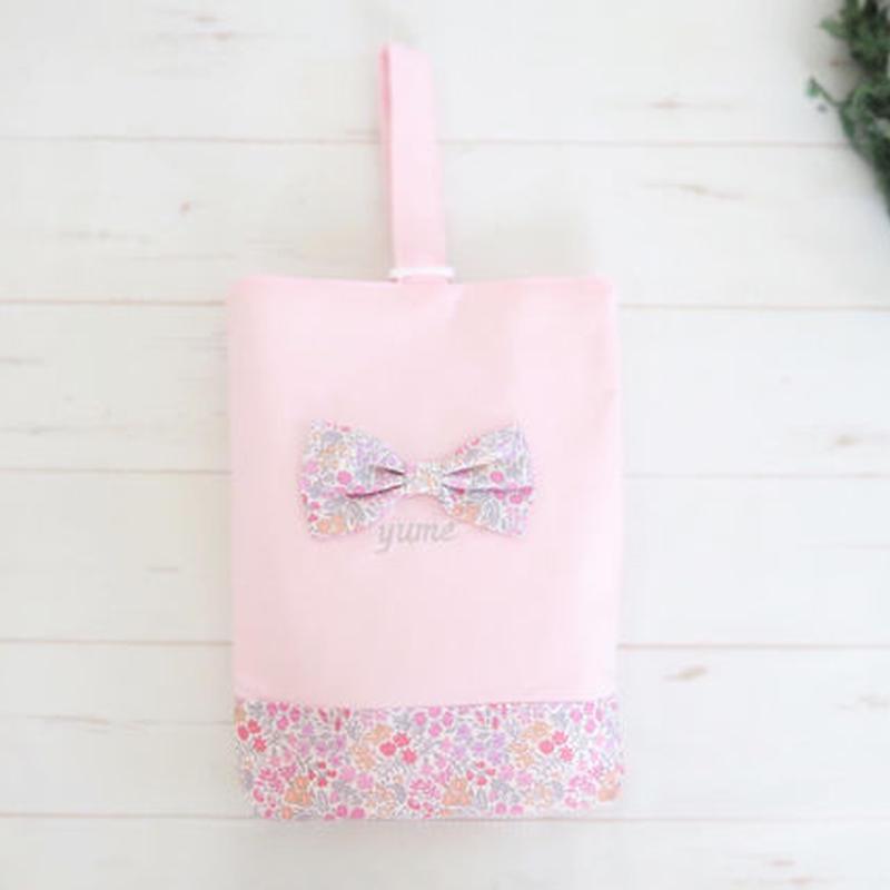 ビッグリボンの上靴袋(ピンク)