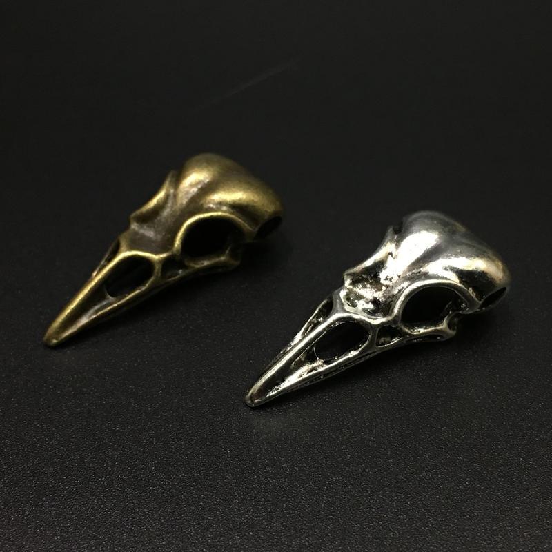 【5点セット】鳥類頭蓋骨風素材 31.9mm x 14.4mm x 9.7mm 金属製ハンドメイドパーツ