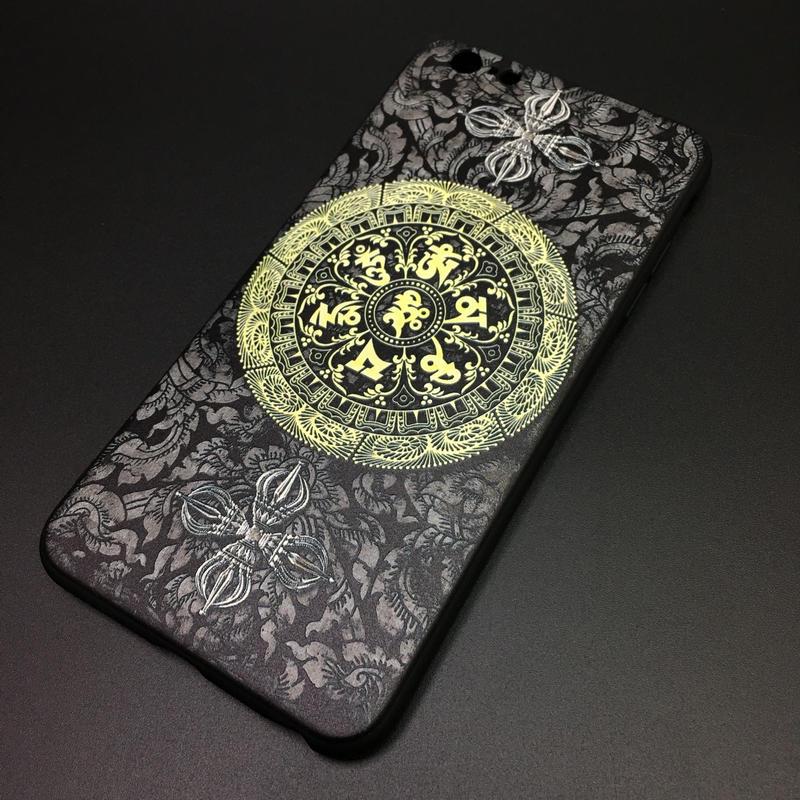 【六字大明陀羅尼】iPhone用ソフトカバー 収納ポーチ付き