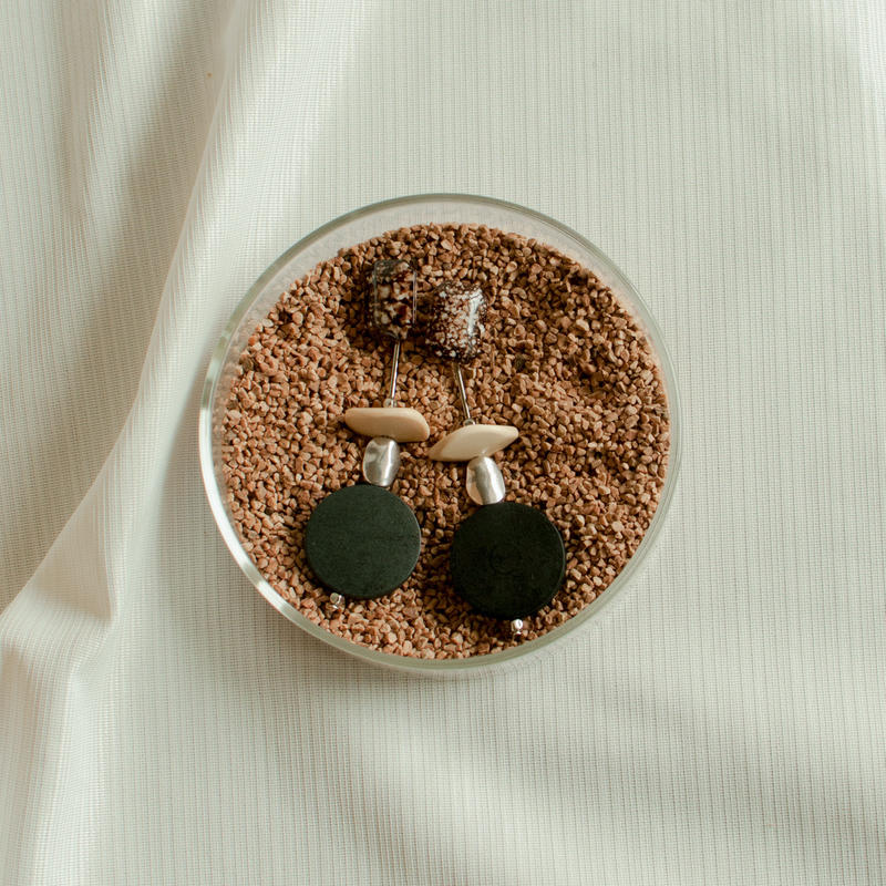 Wooden and metal earring
