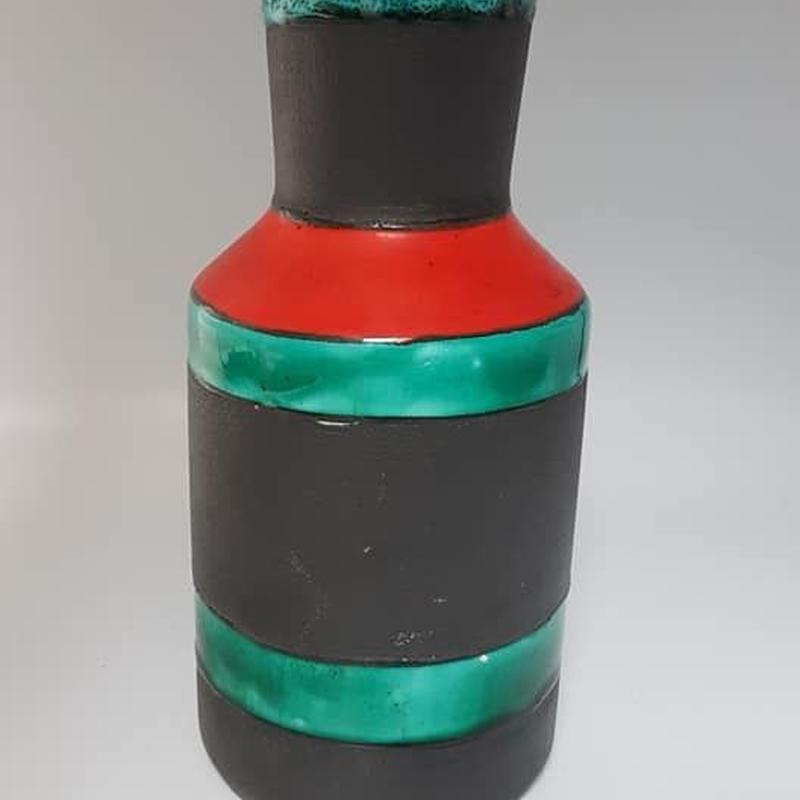 1960's GDR/ DDR VEB haldensleben製 モダンな黒い花瓶 レッド×グリーン    DK013